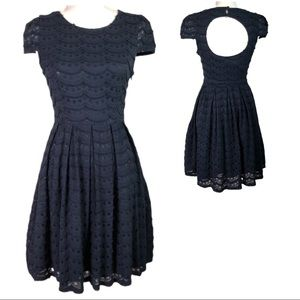 Miami Cap Sleeve Navy Ruffle Dot Dress Open Back